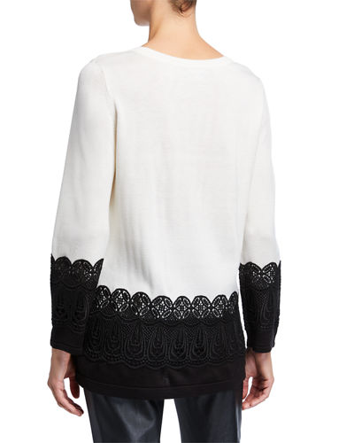 Lace Long-Sleeve Sweater