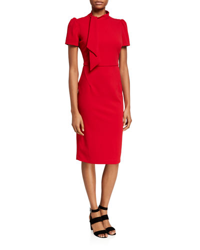 Tie-Neck Midi Sheath Dress