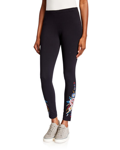 Darielle Leggings with Floral Embroidery