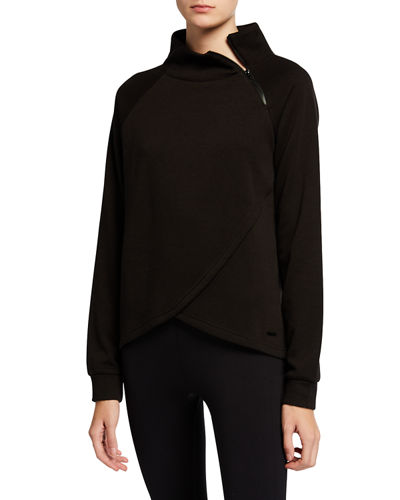 Zipper Spliced-Front Sweatshirt
