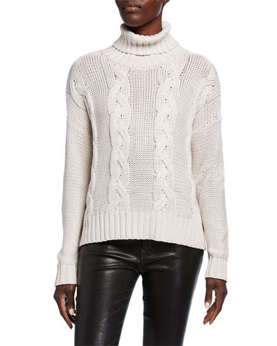 Metallic Cable Knit Turtleneck Sweater