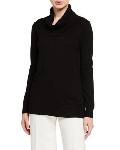 Cowl-Neck Tunic Sweater w/ Side Slits