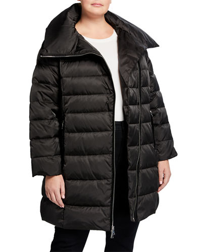 Plus Size Brooklyn Asymmetrical Zip Pillow-Collar Puffer Coat