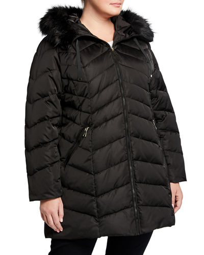 Plus Size Gwen Chevron Quilted Puffer Coat