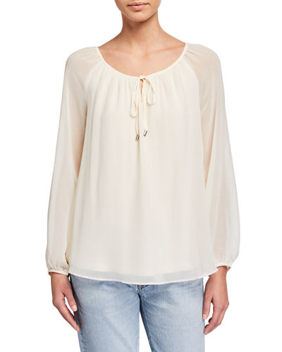 Long Sleeve Shirred Peasant Top