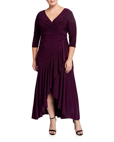 Plus Size Draped Ruffle V-Neck Gown