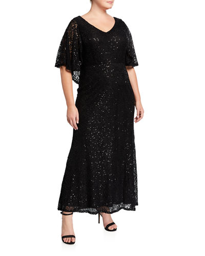 Plus Size Cape Lace Gown