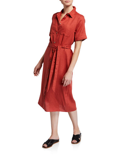 Linen Tie-Waist Midi Shirtdress
