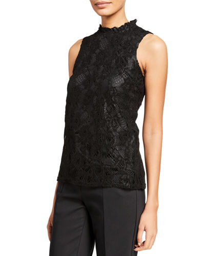 Sleeveless Lace Top with Ruffle Neck