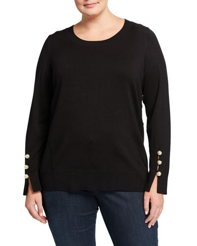 Plus Size Pearly-Trim Pullover