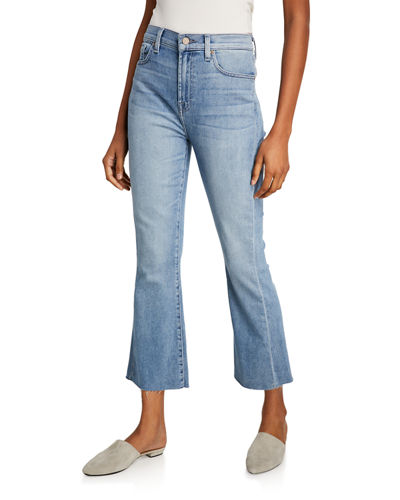 High-Waist Slim Kick Cutoff Jeans