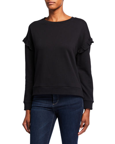 Ruffle-Sleeve French Terry Sweater