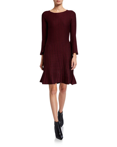 Knit Long-Sleeve Flutter Dress