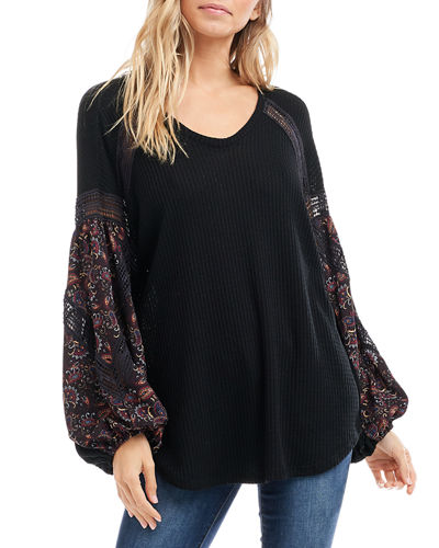 V-Neck Waffle-Knit Printed Blouson-Sleeve Top