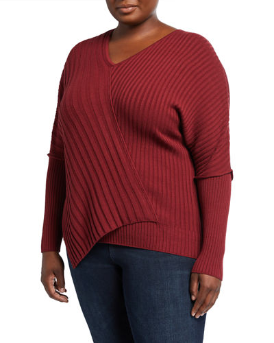 Plus Size Intersecting Rib Dolman-Sleeve Top