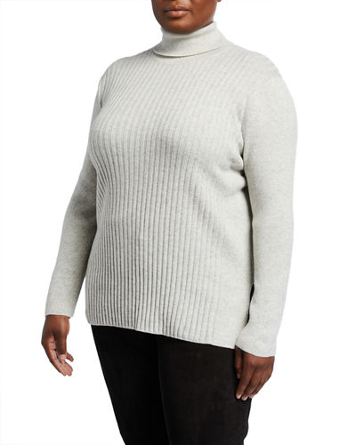 Plus Size Turtleneck Cashmere Ribbed Sweater