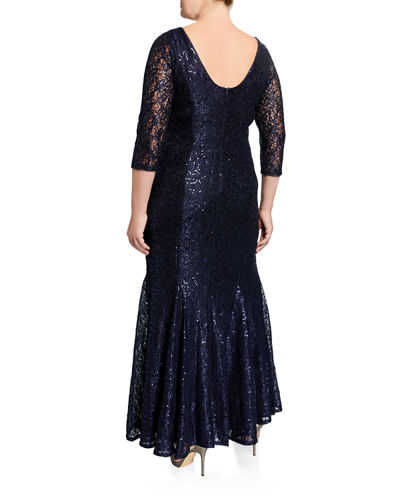 Plus Size Lace Sequin Mermaid Gown