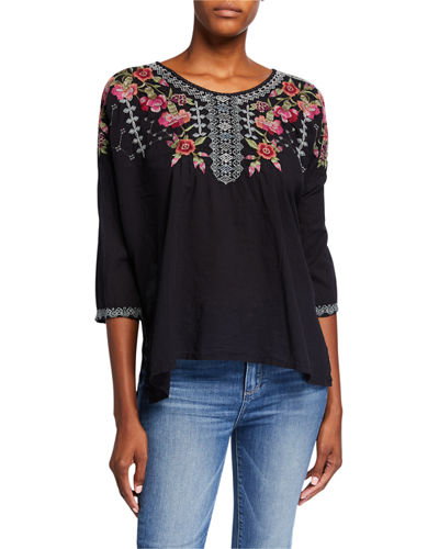 Carnation Embroidered Voile Blouse