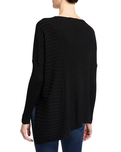 Ribbed Asymmetric Long-Sleeve Tunic