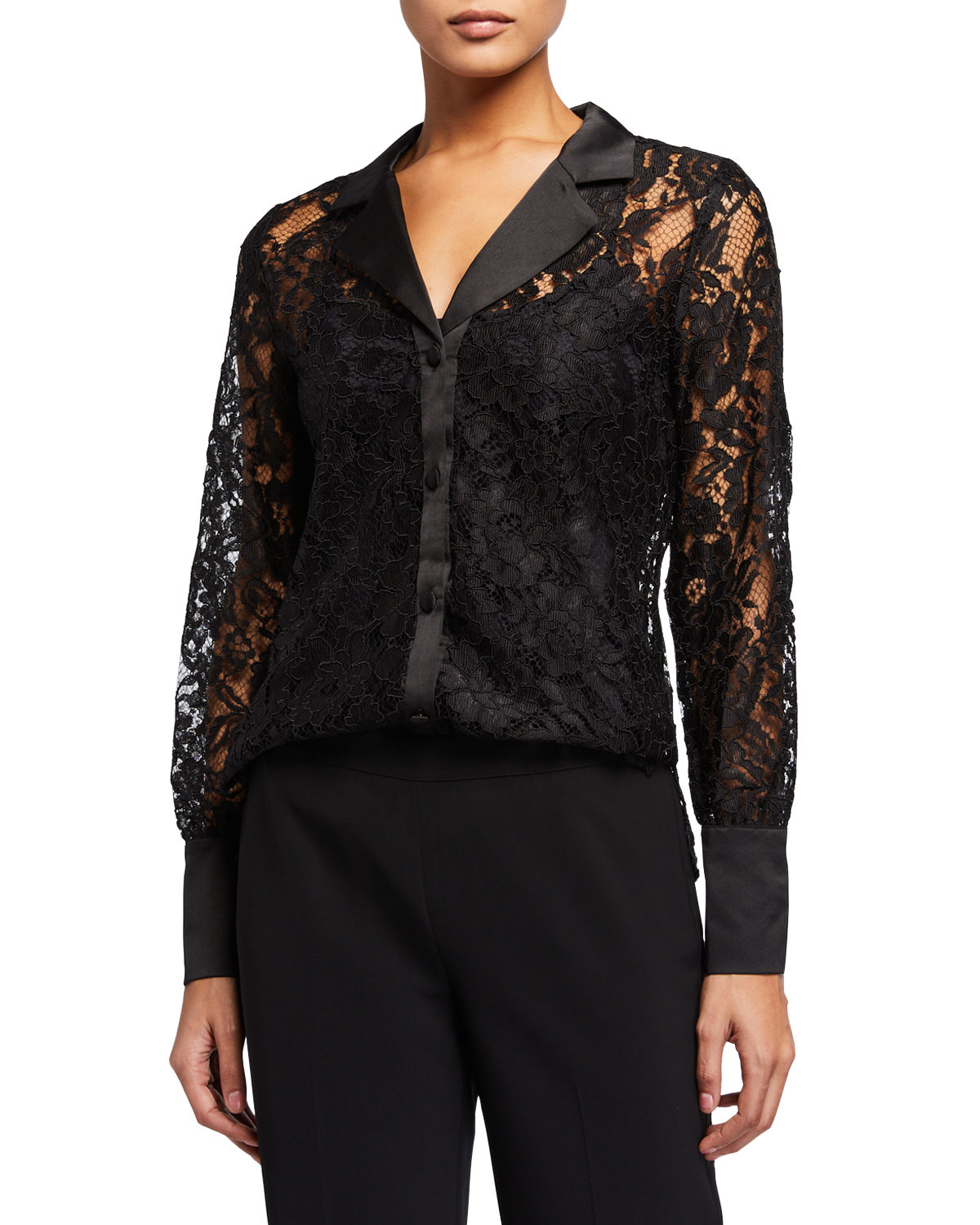 Laundry By Shelli Segal Tops LACE BUTTON-DOWN BLOUSE