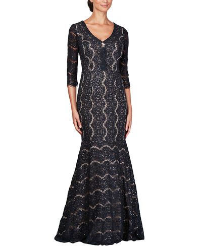Sequined Lace V-Neck 3/4-Sleeve Trumpet Gown