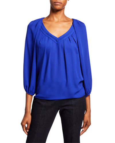 Cahil Pleated Balloon-Sleeve Top