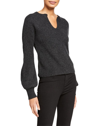Split-Neck Full-Sleeve Ribbed Top