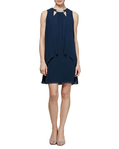 Sleeveless Pearl-Neck Cocktail Dress