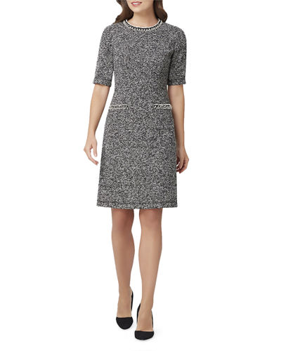 Short-Sleeve A-Line Dress w/ Pearly Trim