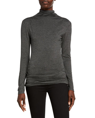 Turtleneck Long-Sleeve Ruched Top