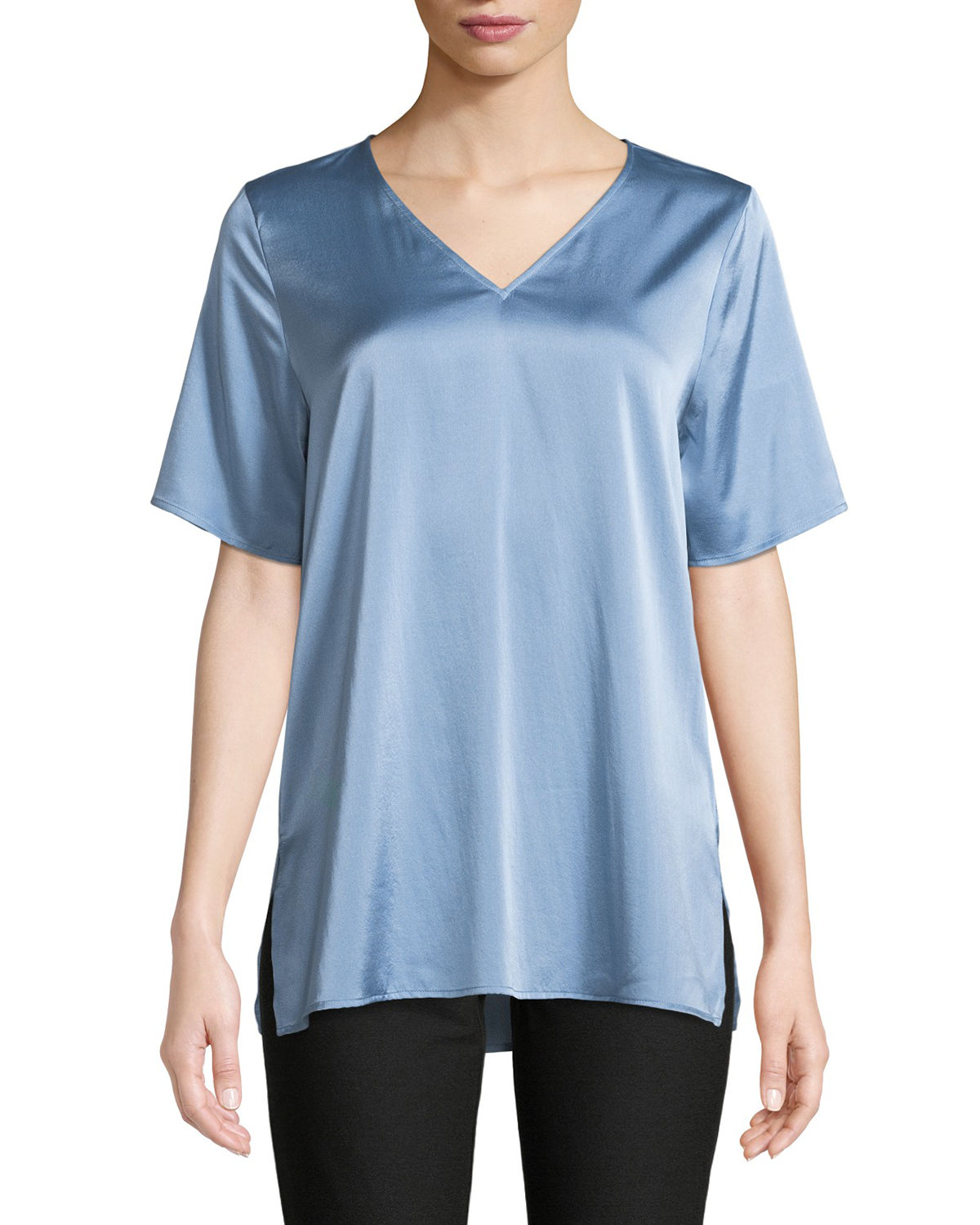 Eileen Fisher Tops V-NECK SILK CHARMEUSE TOP