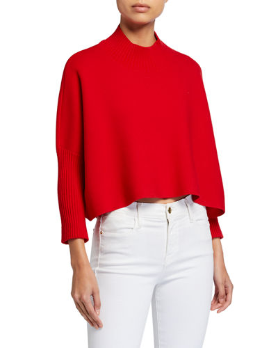 Mock-Neck Cropped Sweater