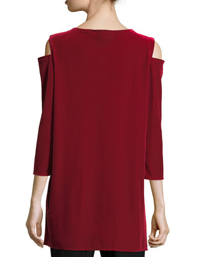 Plus Size Stretch Velvet Cold-Shoulder Tunic