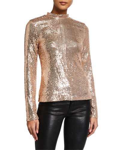 Sequin Long-Sleeve Top