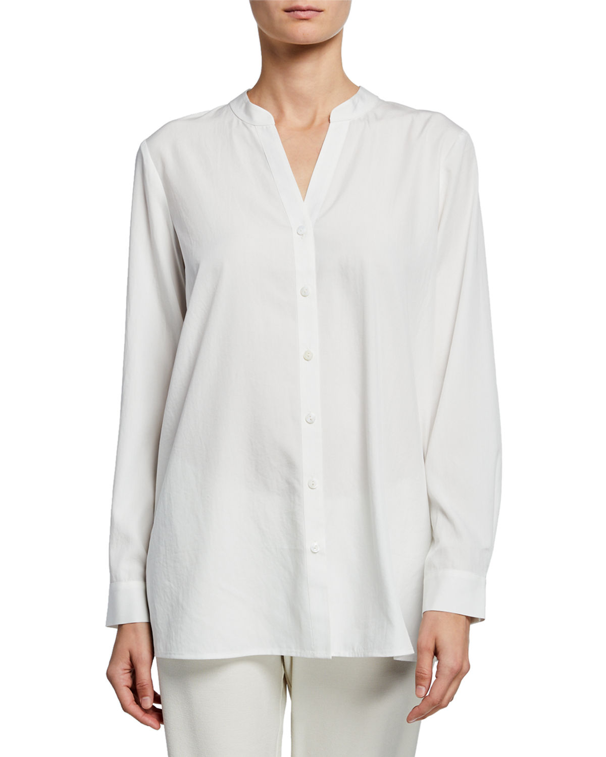 Eileen Fisher T-shirts SAND-WASH BAND-COLLAR LONG-SLEEVE SHIRT