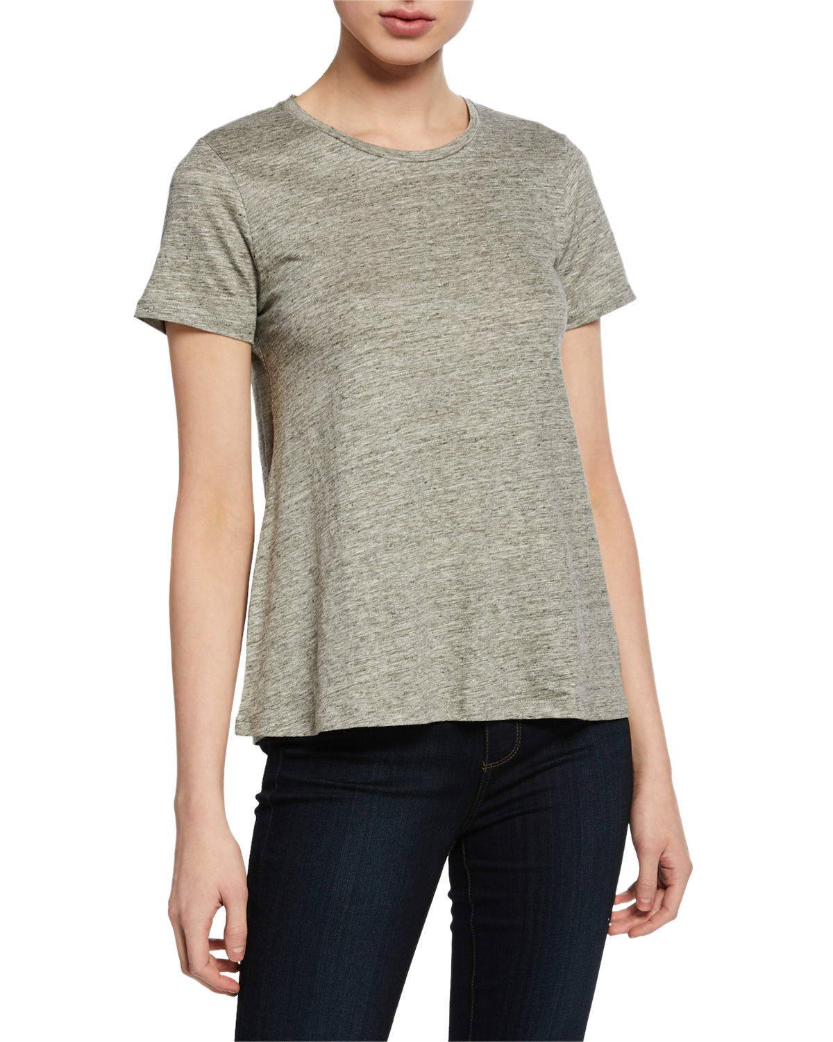Majestic Shorts CREWNECK SHORT-SLEEVE RELAXED STRETCH-LINEN TEE