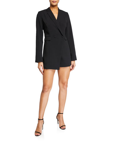 Faux-Placket Blazer Romper
