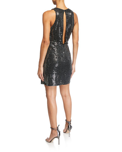 Sequin Front-Slit Open-Back Dress