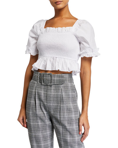 Smocked Plaid Crop Top