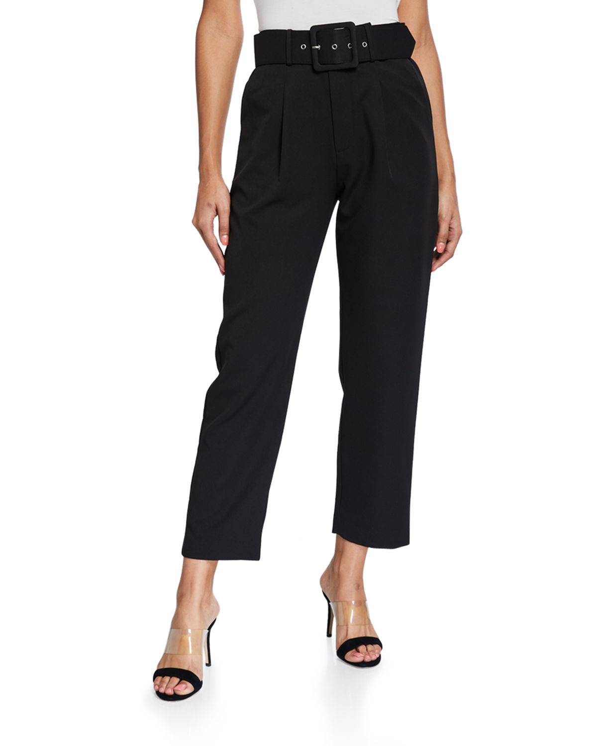 English Factory Baggy Belted Plaid Trousers In Black