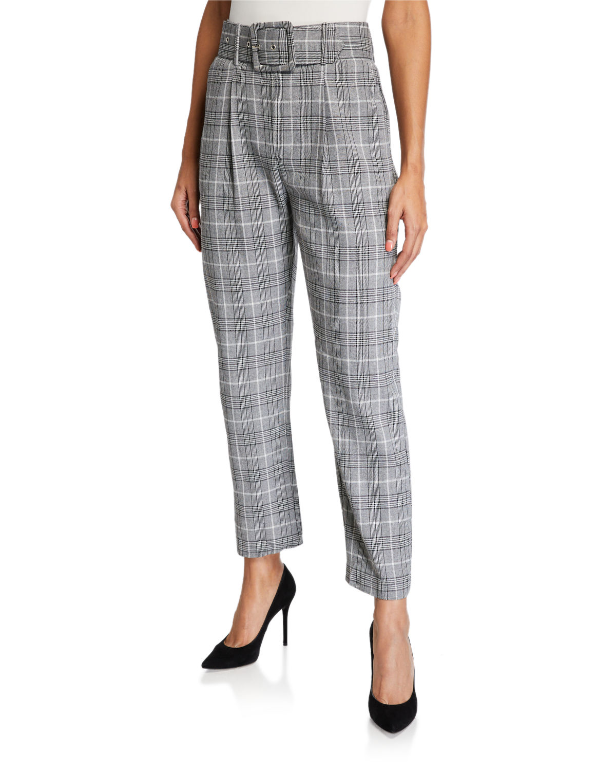 English Factory Baggy Belted Plaid Trousers In Gray