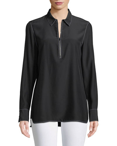 Berta Matte Silk Blouse with Contrast Stitching