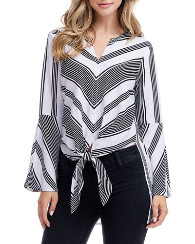Striped Split-Sleeve Tie-Front Top