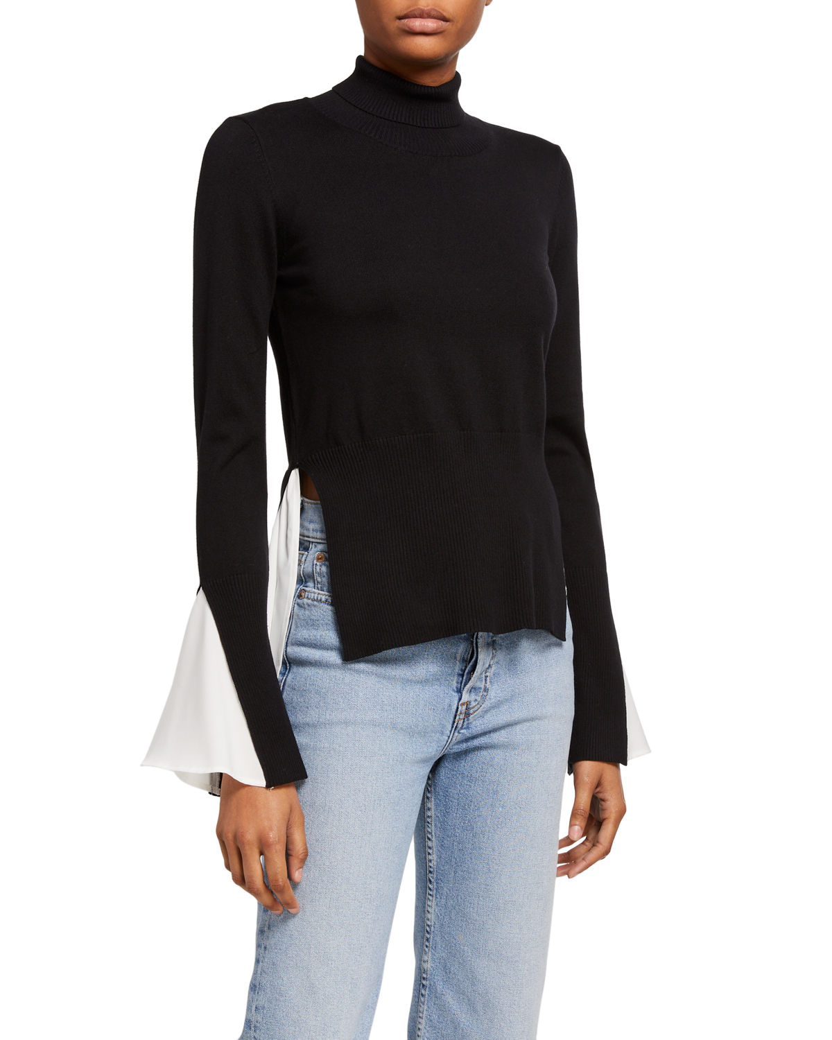 English Factory Sweater & Blouse Twofer Combo Top In Black
