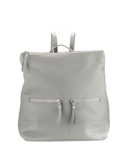 Zip-Pocket Square Leather Backpack