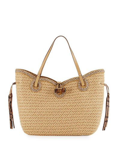 Watuti Scalloped Straw Tote Bag
