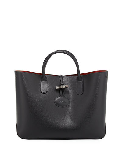 Roseau Leather Top-Handle Tote Bag