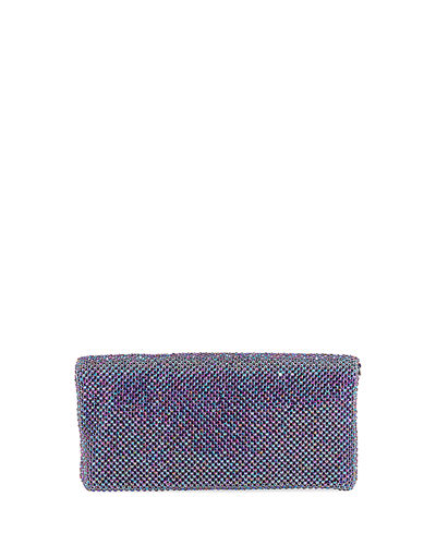 Mesh Crystal Fold-Over Clutch Bag