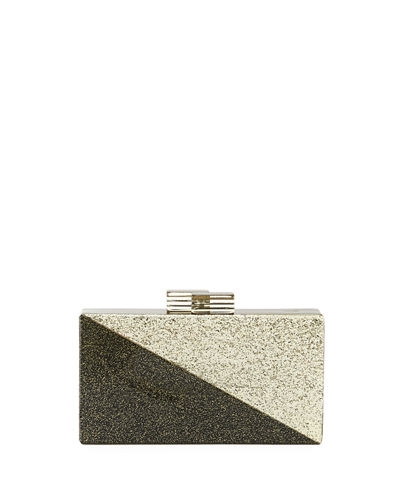 Diagonal Two-Tone Glitter Clutch Bag