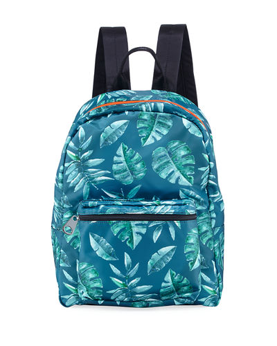 Transparent Leaf-Print Backpack